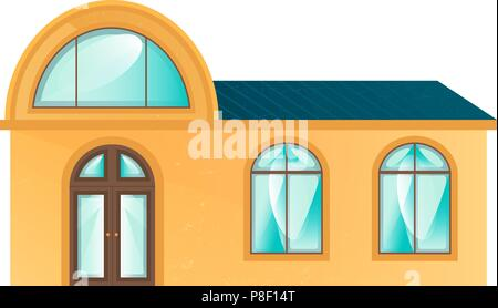 The yellow building in flat design style. The house with simple architecture, is suitable for any your concept, cafe or restaurant. Vector illustratio - Stock Image
