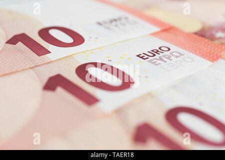 Ten Euros denomination paper currency bank notes, Studio Composition, Quebec, Canada - Stock Image