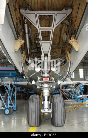 Nose wheels and leg of an Airbus A340 jet aircraft during maintenance, with undercarriage bay doors open. Closeup view. - Stock Image