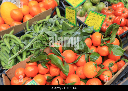 Fresh fruit and vegetables on sale with Euro prices. - Stock Image