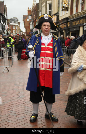 Rochester, Kent, UK. 1st December 2018: A participant of the main parade on Rochester High Street. Hundreds of people attended the Dickensian Festival in Rochester on 1 December 2018. The festival's main parade has participants in Victorian period costume from the Dickensian age. The town and area was the setting of many of Charles Dickens novels and is the setting to two annual festivals in his honor. Photos: David Mbiyu/ Alamy Live News - Stock Image