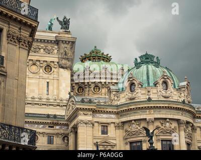 Side view of the Paris Opera House aka Palais Garnier or Opéra Garnier, located at Place de l'Opéra, Paris, France. - Stock Image