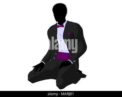African american wedding groom in a tuxedo silhouette illustration on a white background - Stock Image