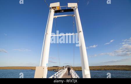 Tavira Island pedestrian drawbridge, built to access by land to Barril Beach, Algarve, Portugal - Stock Image