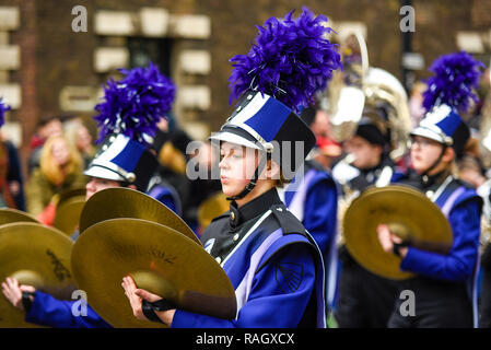 Downers Grove North High School Trojan Marching Band from Illinois, USA, at London's New Year's Day Parade, UK. 2019. Band members - Stock Image
