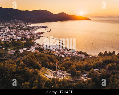Thassos Island sunset at the Acropolis overlooking Limenas town or Thasos Town and harbour - Stock Image