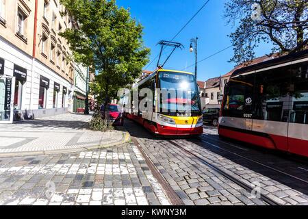 Karmelitska street, Mala Strana, Prague, Czech Republic - Stock Image