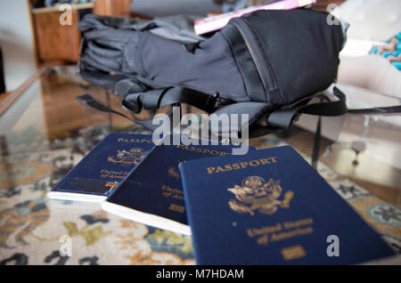 A passport is an essential tool for any international trip. - Stock Image