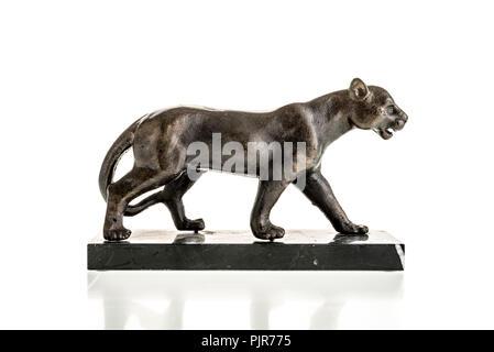 Big cat bronze sculpture on plinth - Stock Image