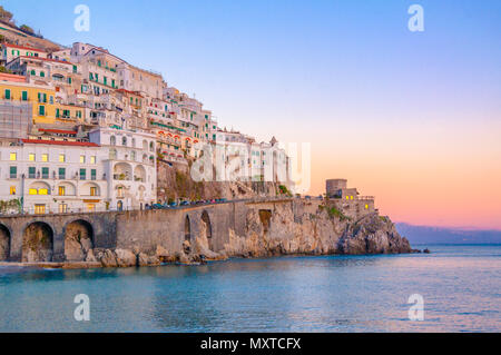 Sunset on the Amalfi Coast, The charming town of Amalfi - Stock Image