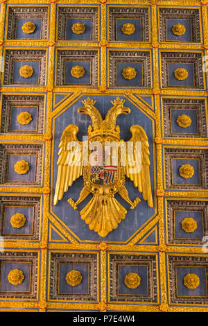 Italy Sicily Agrigento old Cathedral Duomo Cattedrale Museo Diocesano Church religion Christian Catholic roof ceiling detail double headed eagle - Stock Image
