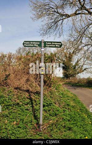 MacMillan Way bridleway sign near Lower Slaughter, Gloucestershire - Stock Image