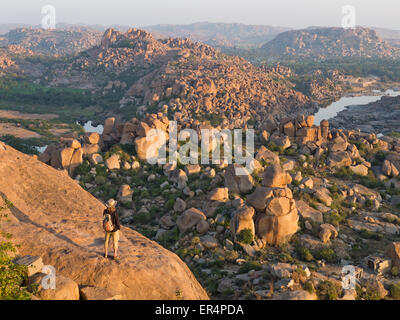 Boulder landscape in Hampi at sunrise India - Stock Image