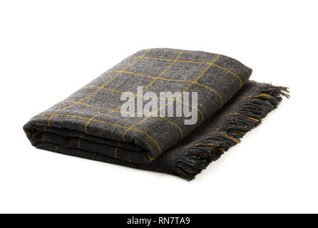 Grey checkered blanket isolated on a white background - Stock Image