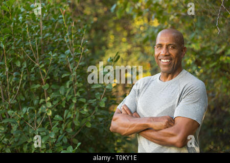 Fit African American man outside. - Stock Image