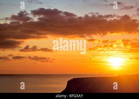 Sunset over Rampion Offshore Wind Farm - Stock Image