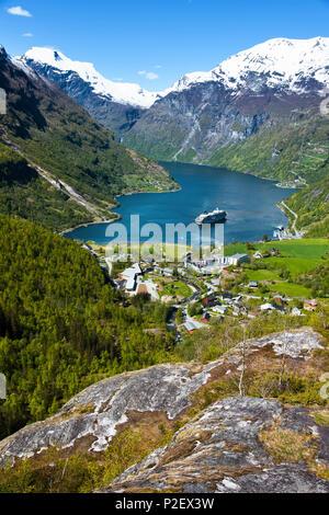 Geirangerfjord, Cruise Ship, Fjord, Mountains, Romsdal, Norway, Europe - Stock Image
