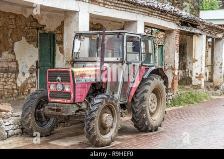Massey Ferguson tractor Lin village Albania - Stock Image