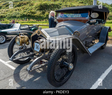 A 1912 Crossley 20HP Competition Car at an Historic Motor Gathering in September 2018 at Saltburn Cleveland UK - Stock Image