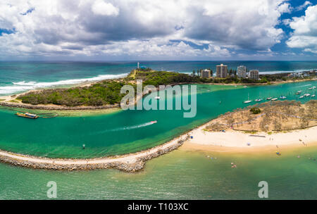 Drone view of famous Mooloolaba beach and marina on sunny day - Stock Image