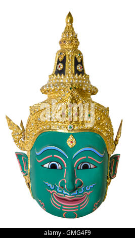 Green actor's mask used head wear for staging isolated on white background, The traditional culture pantomime - Stock Image