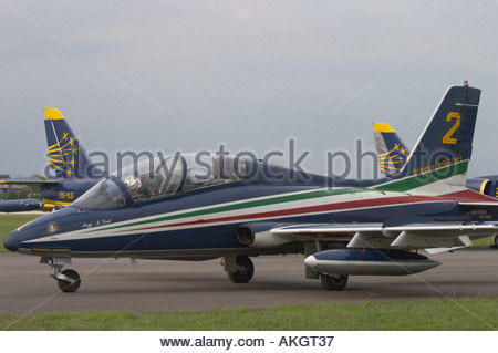 Aermacchi MB 339PAN Rivolto Italia Air show 2005 Italian Air Force Frecce Tricolori - Stock Image