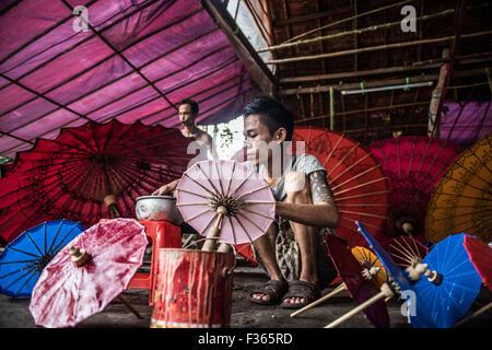 Umbrella making in pathein, myanmar - Stock Image