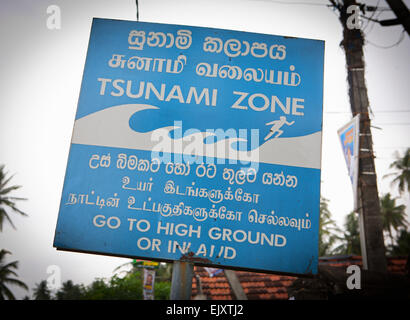 TSUNAMI ZONE SIGN - Stock Image