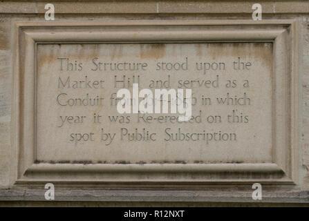 Plaque to commemorate Hobson's Conduit - the water supply to Cambridge, UK - Stock Image