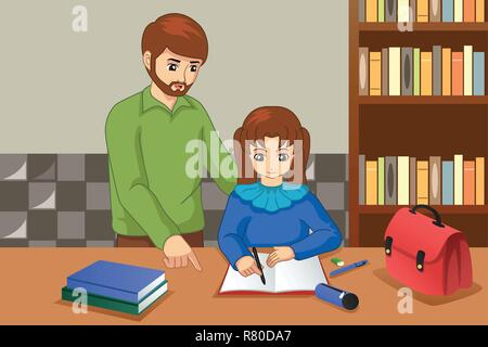 A vector illustration of Father Helping His Daughter Doing Homework - Stock Image