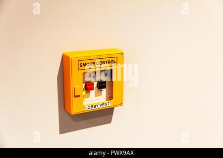 Smoke vent switch, Smoke Alarms, Smoke Control alarm, Smoke alarm, vent switch, smoke control, alarm, switch, smoke, warning system, hotel alarm, - Stock Image