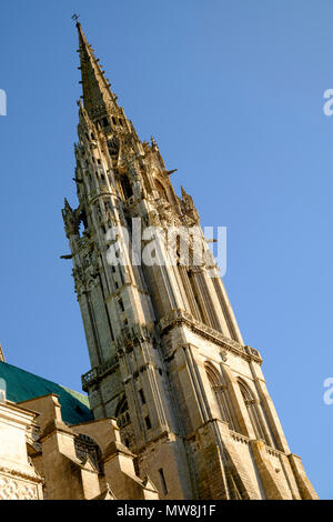 The early 16th-century Flamboyant spire of Chartres Cathedral France - Stock Image