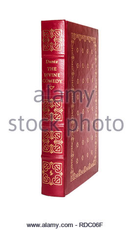 The Easton Press leather-bound edition of Dante's 'The Divine Comedy'.   Isolated on white background. - Stock Image