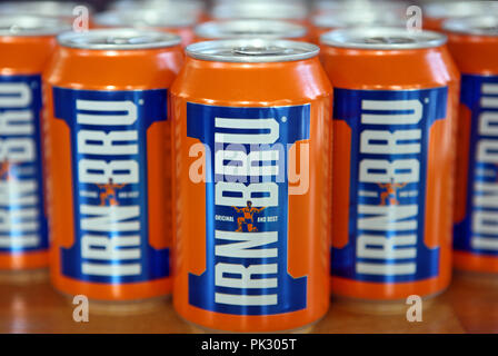 Cans of Barr's Irn Bru - Stock Image