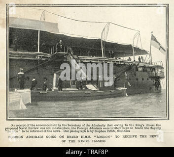 Foreign Admirals going on board HMS London of the Royal Navy, 1902 - Stock Image