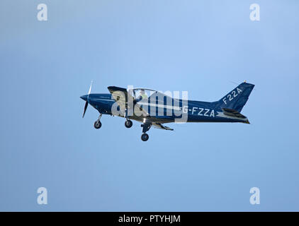 General Avia is the Italian aircraft manufacturing company that produced this General Avia F22 A seen here Leaving Inverness airport in Scotland. - Stock Image