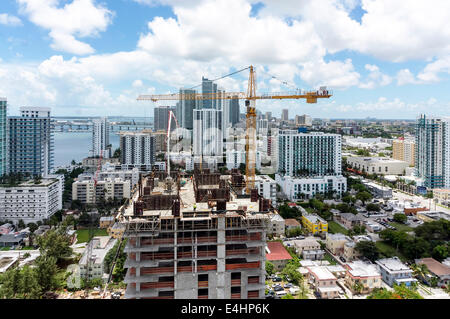 Aerial view of Biscayne Bay and Midtown viewed from upper floor of new condominium high-rise tower in Midtown Miami, - Stock Image