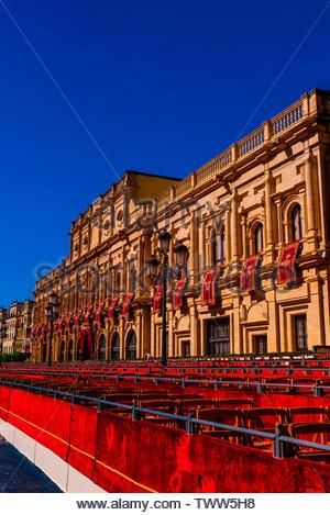 Ayuntamiento (City Hall) decorated for Holy Week (Semana Santa), Seville, Andalusia, Spain. - Stock Image