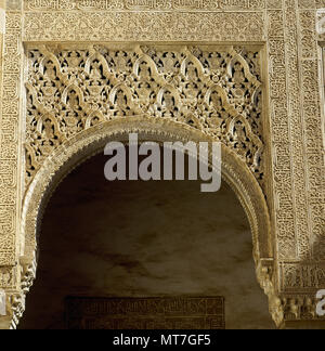 Granada, Andalusia, Spain. The Alhambra. Royal palace built in 1238 by Nasrid emir Mohammed ben Al-almar of the Granada. Decorative details of the rooms.  Technique of Yeseria and Stalactite work. - Stock Image
