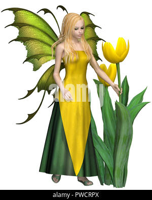 Blonde Haired Yellow Tulip Fairy - Stock Image