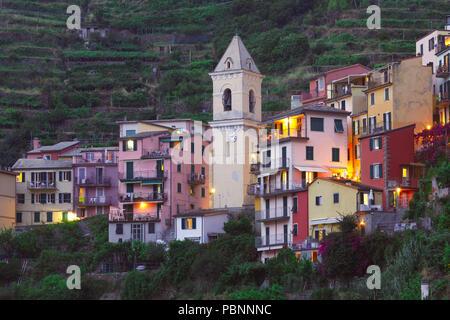 Night Manarola, Cinque Terre, Liguria, Italy - Stock Image