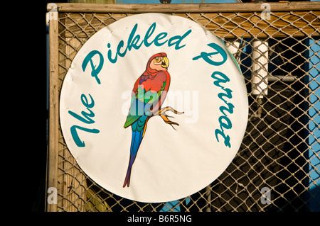 The Boardwalk Pickled Parrot Bar sign Outdoors Naples Florida fl - Stock Image