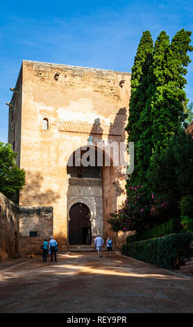 The Tower of Justice , Puerta de la Justicia, is the original entrance gate to the Alhambra Palace in Granada Spain - Stock Image