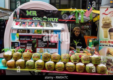 Coconut Water Vendor, Kuala Lumpur, Malaysia. - Stock Image