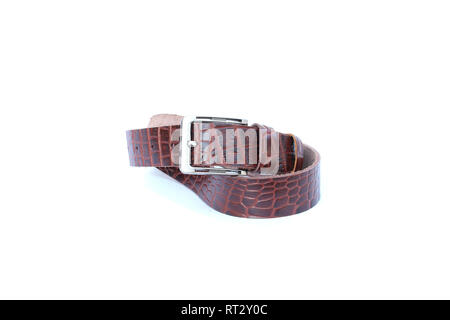 brown leather belt on isolated - Stock Image
