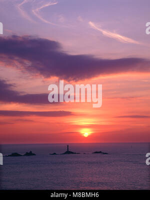 Sunset at Lands End, Cornwall, England - Stock Image