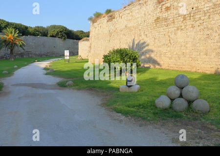The city walls surrounding the old town of Rhodes, Greece - Stock Image