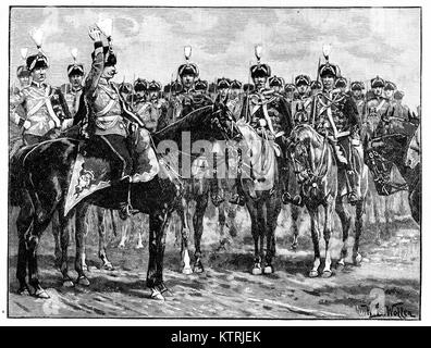 Prince William of Prussia Addressing the Hussars, 1887 - Stock Image