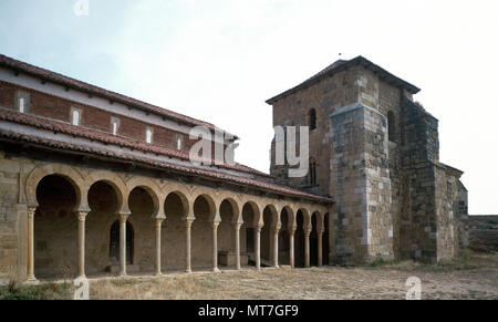 Monastery of San Miguel de Escalada. Portico. Mozarabic style, built on a Visigoth church. It was founded in the late 9th century, under the rule of Alfonso III, by a group of Christian monks from Cordoba led by Abbot Alfonso. Way of St. James. Province of Leon, Castile and Leon, Spain. - Stock Image
