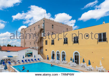 Swimming pool of the Hotel Encanto Sagua. The new building is a tourist attraction in the National Monument area of the Southern Cuban city. - Stock Image